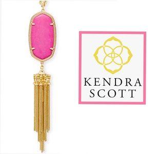 Kendra Scott, Magenta Pink & Gold Rayne Necklace
